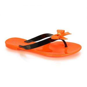 Σαγιονάρες τζελ με φιόγκο Πορτοκαλί