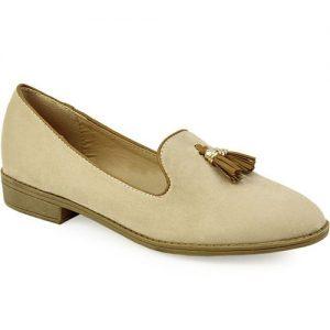 Γυναικεία loafers με κροσσάκια Μπεζ